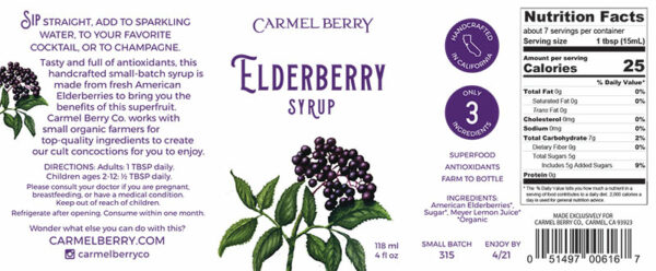Elderberry syrup product label