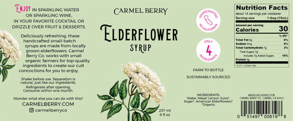 Elderflower syrup label