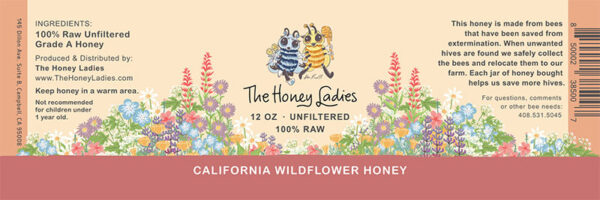 california wildflower honey label